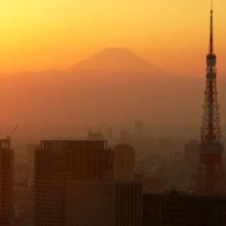 Winter sunset over Tokyo