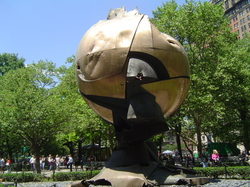 The ruins of Fritz Koenig's 'Sphere' standing in New York's Battery Park
